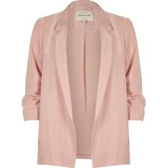 River Island Plus blush pink ruched sleeve blazer Striped Jacket, Pink Jacket, Striped Blazer, Light Pink Blazers, Plus Size Blazer, Red Blazer, Blazer Jacket, Girly, Pink Stripes