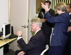 """President Clinton typing """"Good morning"""" using just his eyes on his first try!"""