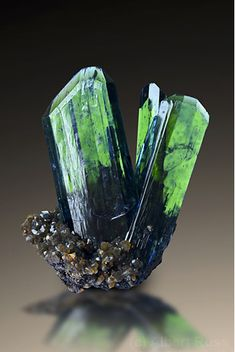 Vivianite - Oruro department, Bolivia Size: x cm. The green color is reminiscent of emerald. Minerals And Gemstones, Rocks And Minerals, Natural Crystals, Stones And Crystals, Gem Stones, Beautiful Rocks, Mineral Stone, Rocks And Gems, Quartz Crystal