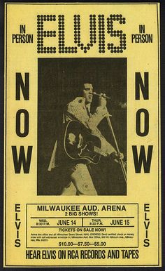 Elvis Presley Newspaper Concert Ad for his upcoming shows in Milwaukee WI. June 1972 by rockinred1969, via Flickr