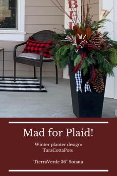 """Love this front door decor with buffalo plaid ribbons, cushions and outdoor mats. The tall 36"""" Sonata planter is naturally black, made of recycled rubber. This ecofriendly product is plant safe and perfectly coordinates with the buffalo plaid trend! See more holiday decorating ideas for winter planters in the link! Outside Planters, Tall Planters, Holiday Decorating, Decorating Ideas, Outdoor Mats, Winter Planter, Recycled Rubber, Front Door Decor, Holiday Traditions"""