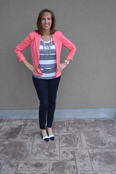 Styling session with a coral blazer