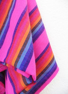 2 yards x .87 yard neon PINK Mexican Fabric (cambaya) with colorful mexican embroidery stripes