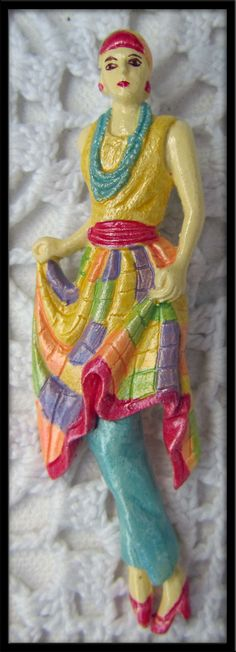 Vintage 80s Brooch Pin Retro Lady Figural Plastic colorful fashion Jewelry