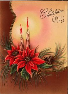 Vintage Greeting Card Christmas Candles Poinsettia (O428)