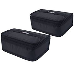 MIER Portable Lunch Bag Food Storage Cooler Bag Thermal Insulated Lunch Box Case, Package of 2, Black. For product & price info go to:  https://all4hiking.com/products/mier-portable-lunch-bag-food-storage-cooler-bag-thermal-insulated-lunch-box-case-package-of-2-black/