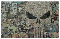 Punisher impresión 11 x 17 por ComicCollageArt en Etsy