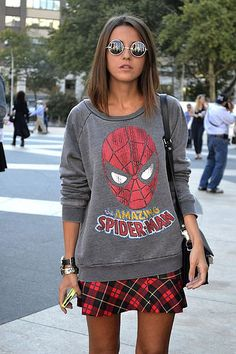 Spiderman, Batman, Ironman, Superman, Hulk and on❤ Geek Girl Fashion, Fashion 90s, Marvel Fashion, Fandom Fashion, Fashion Outfits, Fashion Trends, Runway Fashion, Neo Grunge, Grunge Style
