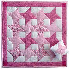 """Pink Friendship Star Quilt 36"""" x 36"""" interlocking"""