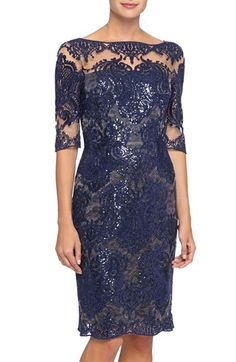 Free shipping and returns on Tahari Sequin Lace Sheath Dress (Regular & Petite) at Nordstrom.com. An illusion yoke provides coverage and highlights the intricate sequin embroidery of this lacy cocktail dress that follows your figure in a sleek sheath silhouette.