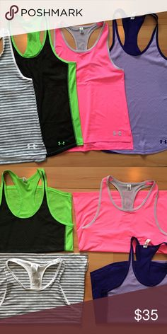 Under Armour Tanks This listing includes 4 Under Armour tanks. Two are Mediums and the other two are youth L which fit like mediums. Under Armour Tops Tank Tops