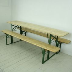 Vintage German beer table and benches in natural pine finish - Lovely and Company Large Furniture, Outdoor Furniture, Retro Furniture, Outdoor Tables, Outdoor Decor, Beer Table, Shop Counter, German Beer, Dining Bench