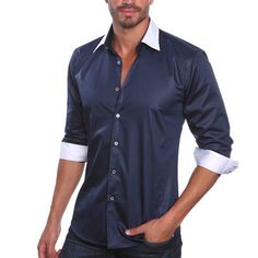 Contrast Shirt Navy now featured on Fab.