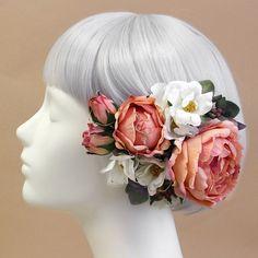 髪飾り・ヘッドドレス/ロゼットローズの髪飾り(ピーチ) - ウェディングヘッドドレス&花髪飾りairaka