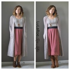 LuLaRoe Fall Fashion Trends  Lola Midi Skirt with Long Sarah Cardigan and Clarks booties and riding boots  Print mixing, neutrals Shop here: https://www.facebook.com/groups/LularoeKaraMiller/