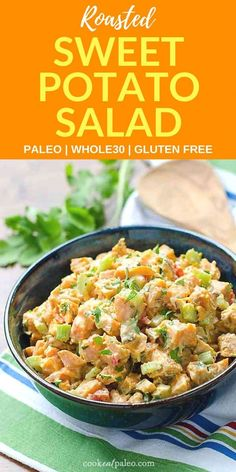 If you're looking for something different to bring to your next barbecue, this cold sweet potato salad is amazing! It's naturally sweet from the roasted sweet potatoes with a chipotle lime kick from the easy dressing recipe. This healthy sweet potato sala Healthy Potato Recipes, Sweet Potato Recipes, Paleo Recipes, Real Food Recipes, Vegetable Recipes, Chicken Recipes, Slow Cooker Sweet Potatoes, Roasted Sweet Potatoes, Easy Dressing Recipe
