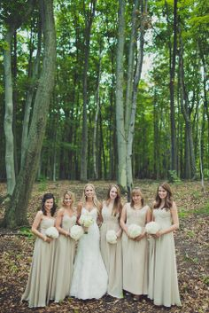 Long, neutral bridesmaid dresses // // Nathan English photography // http://www.theknot.com/submit-your-wedding/photo/46191ca3-5b7e-4dcd-97bd-000c68a25b14/Wes-Alex