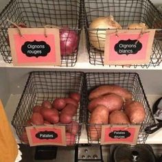 65 Ingenious Kitchen Organization Tips And Storage Ideas Kitchen pantry organization Pantry Storage, Pantry Organization, Organizing Ideas, Kitchen Storage, Wire Storage, Onion Storage, Pantry Baskets, Produce Baskets, Organized Pantry