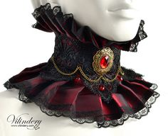 Vampire Choker with red glass crystals and chain - Victorian fantasy jewelry. - Steamy Chokers, Cuffs & Spats - Red Vampire Choker with red glass crystals and chain - Victorian fantasy jewelry. Victorian Collar, Victorian Goth, Victorian Fashion, Gothic Fashion, Vampire Fashion, Fantasy Jewelry, Gothic Jewelry, Wedding Accessories, Fashion Accessories