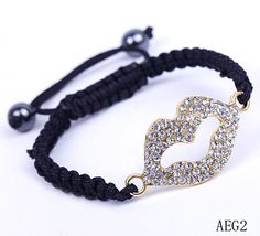 $1.67  Golden Lip Black Nylon Crystal Hematite Bracelets Jewelry Gift#Eozy