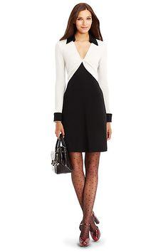 DVF Twist Colorblock Wool Shirtdress in in Black/ Ivory