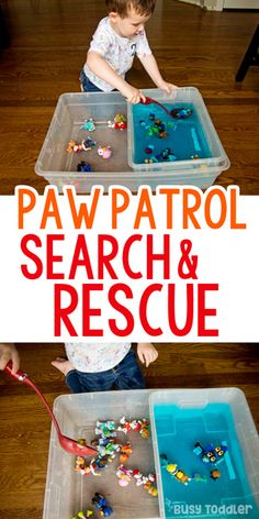 Paw Patrol Search and Rescue Sensory Bin: scoop and transfer sensory bin; quick and easy sensory; montessori sensory activity for toddlers from Busy Toddler Sensory Activities Toddlers, Games For Toddlers, Sensory Bins, Infant Activities, Montessori Activities, Sensory Play, Paw Patrol Games, Paw Patrol Party, Paw Patrol Toys