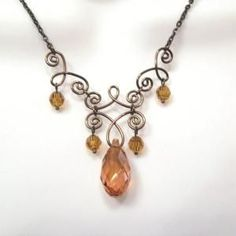 Wire Work Crystal Necklace - Swarovski Amber Teardrop - Round crystals - Bronze Wire Jewelry - Henna Style on Etsy, $25.00 by MistyLane