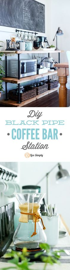 Build your own coffee bar! This project is made with industrial-style black pipes and wood--that's it! Get that classic coffee bar look in your own home. Office DIY Decor, Office Decor, Office Ideas #DIY