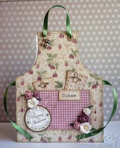 Apron card with raspberry and floral theme and pull-out tags
