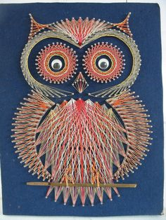 Kitsch String Art Owl Bird Nursery Decor Sixties door vintagejane