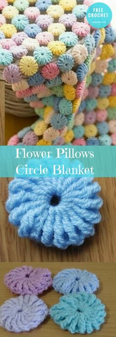 "#FlowerPillows #CircleBlanket #FreeCrochetPattern #CrochetBlanket, Afghan| size: 48X48"" / adjustable 