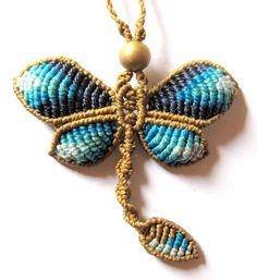 macrame dragonfly necklace boho bohemian hippie by Mediterrasian