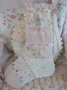Beautiful Shabby Cottage Chic Christmas Stocking Large by Our Shabby Cottage, via Flickr