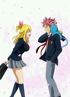 Lucy, Natsu, and Happy - Fairy Tail