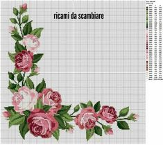 Rose Motif for Tablecloth 2 Cross Stitch Pattern Cross Stitch Borders, Cross Stitch Rose, Cross Stitch Flowers, Cross Stitch Charts, Cross Stitch Designs, Cross Stitching, Cross Stitch Embroidery, Cross Stitch Patterns, Cross Stitch Kitchen