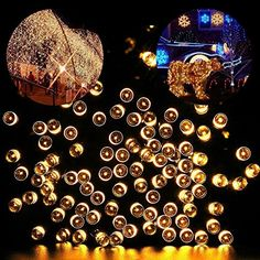 Blusow Solar String Lights 100LED Outdoor Fairy Lights 55ft8 Feature Courtyard Garden Fence Stairs Windows Christmas Holiday Decorations Warm White -- Click on the image for additional details.  This link participates in Amazon Service LLC Associates Program, a program designed to let participant earn advertising fees by advertising and linking to Amazon.com.