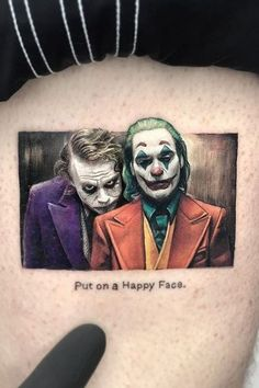 Joker tattoo is probably one of the most popular tattoos among the comic fans. People are fascinated by the Joker. Joker Tattoos, Game Tattoos, Red Tattoos, Cool Tattoos, Tatoos, Tattoo Drawings, I Tattoo, Joker Images, Writing Tattoos