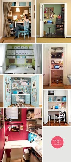 DIY Inspiration - Closets as Offices. Creative ways to convert a closet into a home office.
