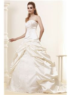 Spectacular A-Line/Princess Strapless Floor-length Cathedral Plus Size Angerlika s Bridal Gown(840)