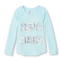 Girl's Long Raglan Sleeve Shirred Graphic Top | The Children's Place