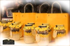 Customized party favor gift bags.  These bags were loaded with Burts Bees gift sets.