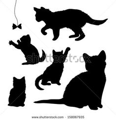 stock-vector-vector-set-of-silhouettes-of-playing-kittens-cats-isolated-on-white-background-158067935.jpg (450×470)