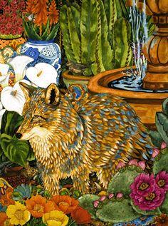 Desert Patio ~ by Kendahl Jan Jubb Desert Art, Southwest Art, Art Boards, Deserts, Coyotes, Foxes, Gallery, Artworks, Painting