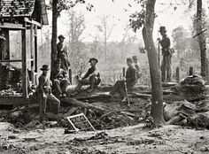 Shorpy Historical Photo Archive :: Old Dixie Down: 1864 Great uniform example of western Union troops at a federal picket post in 1864 Atlanta. ( click twice for great detail)