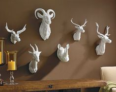 Williams-Sonoma Home Faux Taxidermy Ceramic Animal Heads on Sale Paper Mache Deer Head, Animal Head Decor, Animal Heads On Wall, Copy Cat Chic, Faux Taxidermy, Ceramic Animals, Do It Yourself Home, Williams Sonoma, My Living Room