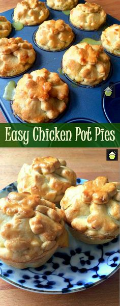 But dark Easy Mini Chicken Pot Pies. Delicious little pies with crisp pastry. Freezer friendly and great for parties and picnics too! Samosas, Empanadas, Easy Chicken Pot Pie, Chicken Recipes, Chicken Freezer, Garlic Chicken, Freezer Meals, Grilled Chicken, Chicken Wings