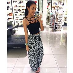 Black and White Outfit... Floral harem pants...