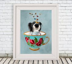 Doggy in a cup, Butterfly Print Illustration #art #painting @EtsyMktgTool http://etsy.me/2f0cxVR