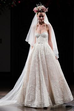 Hand embroidered strapless ball gown wedding dress, Naeem Khan Fall 2016 Bridal Collection