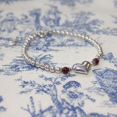 Sterling Silver Garnet Kinsey Heart Beaded bracelet by LitaKinsey, $40.00
